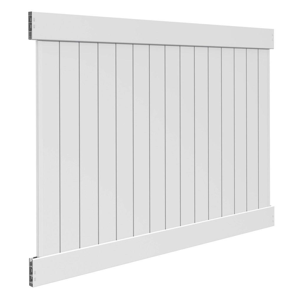 Veranda Linden 6 ft. H x 8 ft. W White Vinyl Pro Privacy Fence Panel Kit