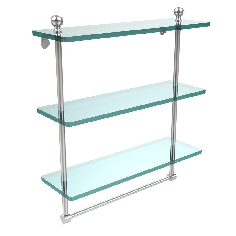 Allied Brass Mambo Collection 5 in. W x 16 in. L Triple Tiered Glass Shelf with Integrated Towel Bar in Polished Chrome