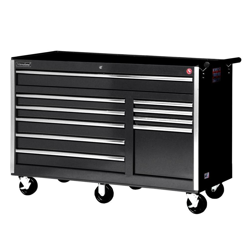 56 in. Tech Series 10-Drawer Cabinet, Black
