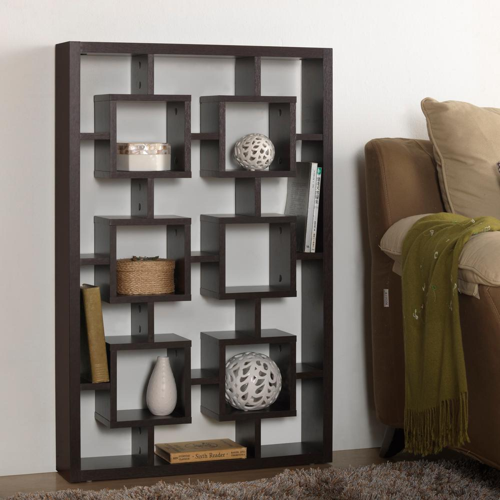 Eyer 6-Shelf Modern Display Shelf in Dark Brown