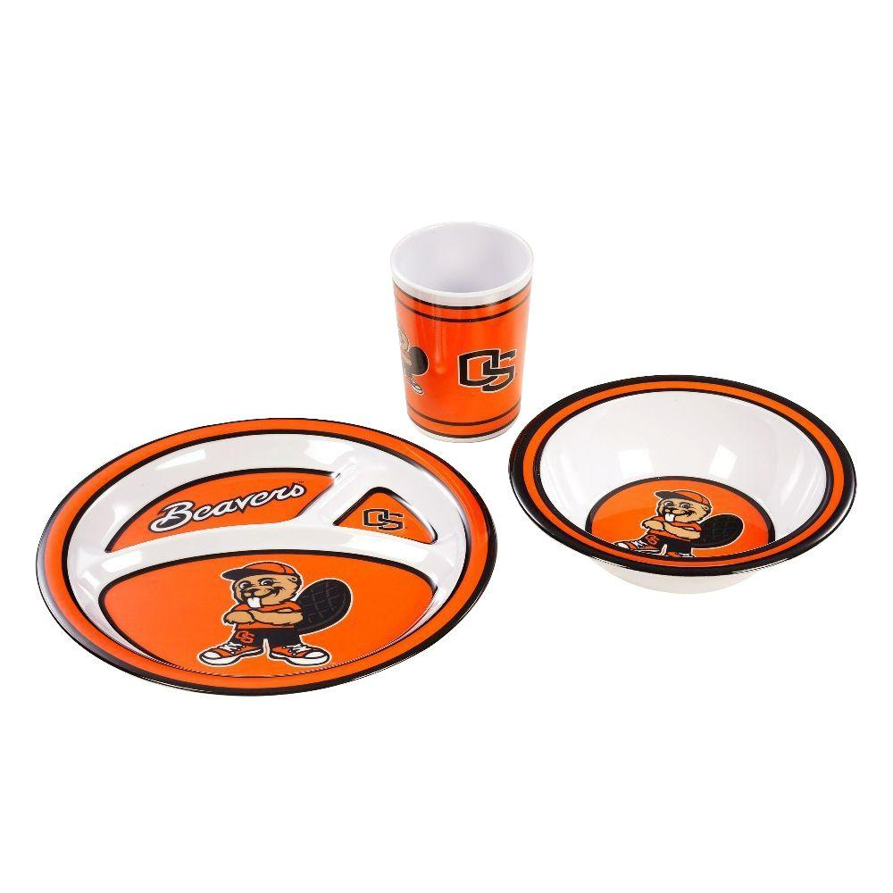 BSI Products NCAA Oregon State Beavers 3-Piece Kid's Dish Set-31179 -