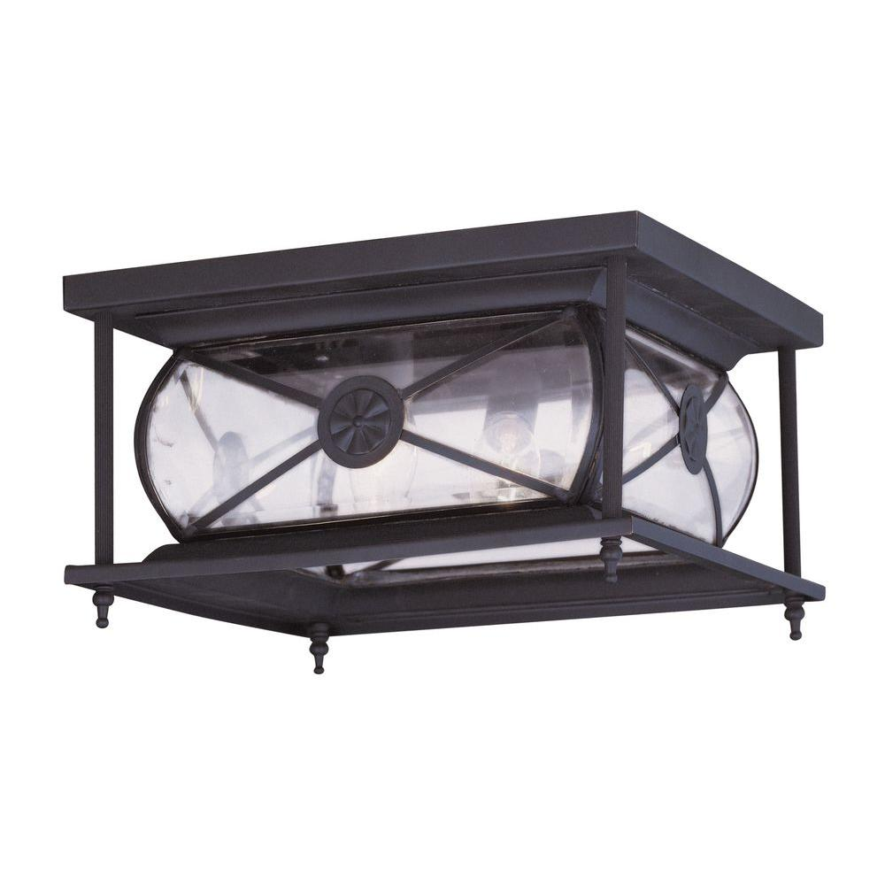 Livex Lighting Providence Collection 2-Light 6.0 in. Outdoor Bronze Clear Beveled Glass Flush Mount