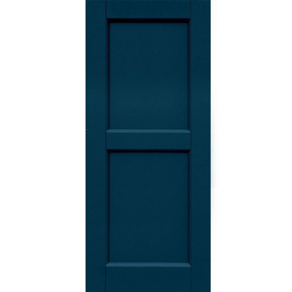 Winworks Wood Composite 15 in. x 36 in. Contemporary Flat Panel Shutters Pair #637 Deep Sea Blue