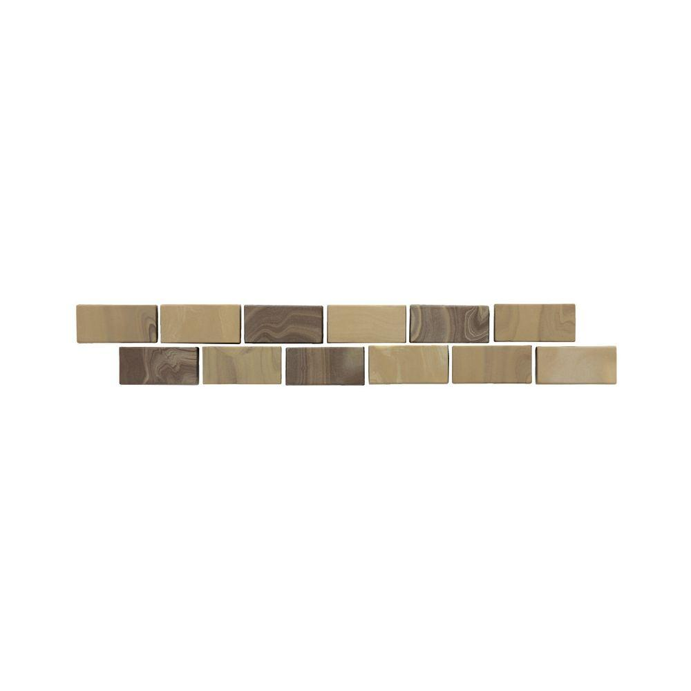 Daltile San Michele Moka 2 in. x 12 in. Glazed Porcelain Floor Decorative Accent Floor and Wall Tile, Moka Decorative Accent