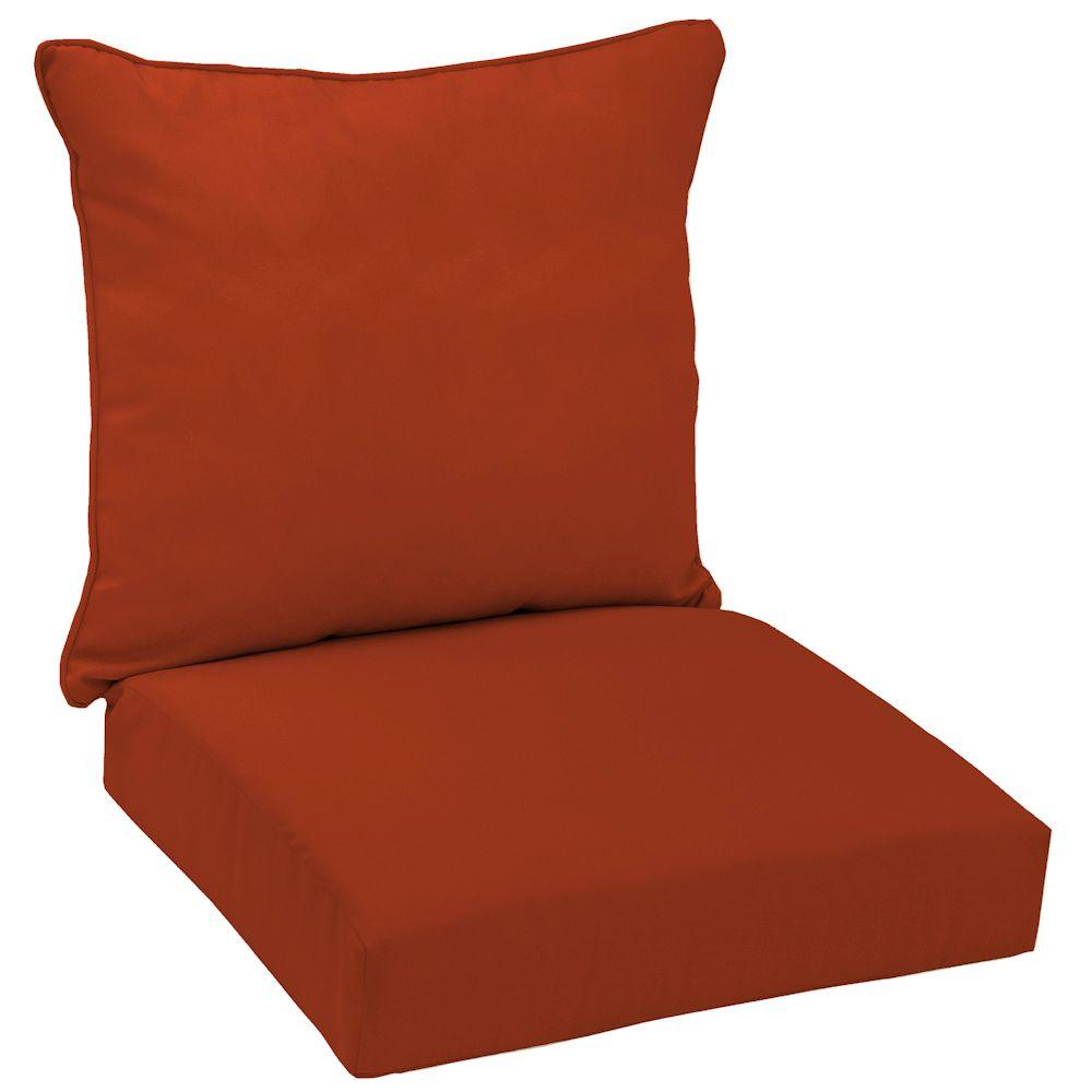 Hampton Bay Chili Red Solid Welted 2-Piece Pillow Back Outdoor Deep Seating Cushion Set