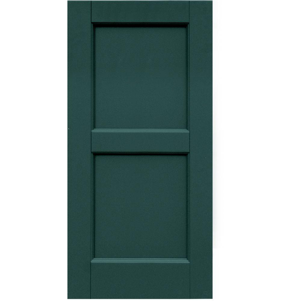Winworks Wood Composite 15 in. x 32 in. Contemporary Flat Panel Shutters Pair #633 Forest Green
