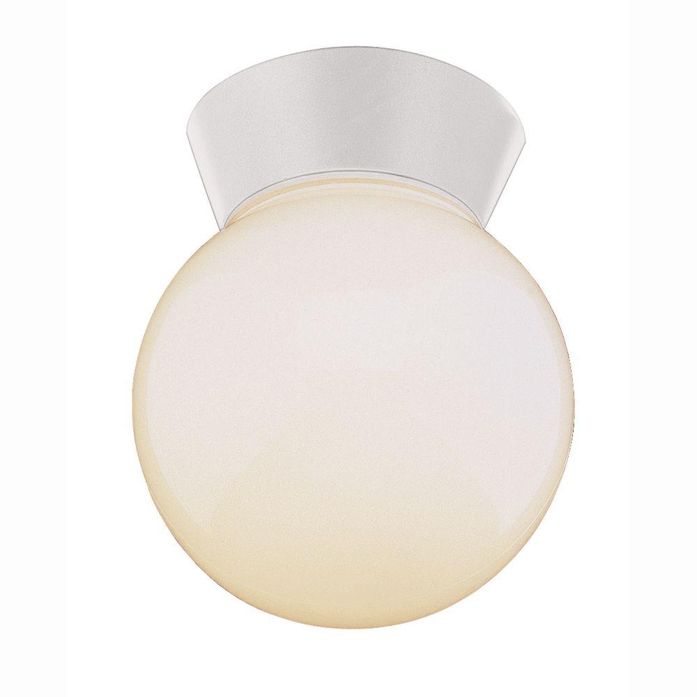 Metropolitan 1-Light Outdoor White Outdoor Flush Mount with Opal Glass