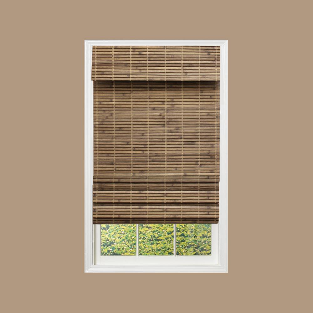 Homebasics brown linen look thermal blackout fabric roman shade 36 in w x 64 in l rstd3664 - Home decorators collection blinds installation image ...