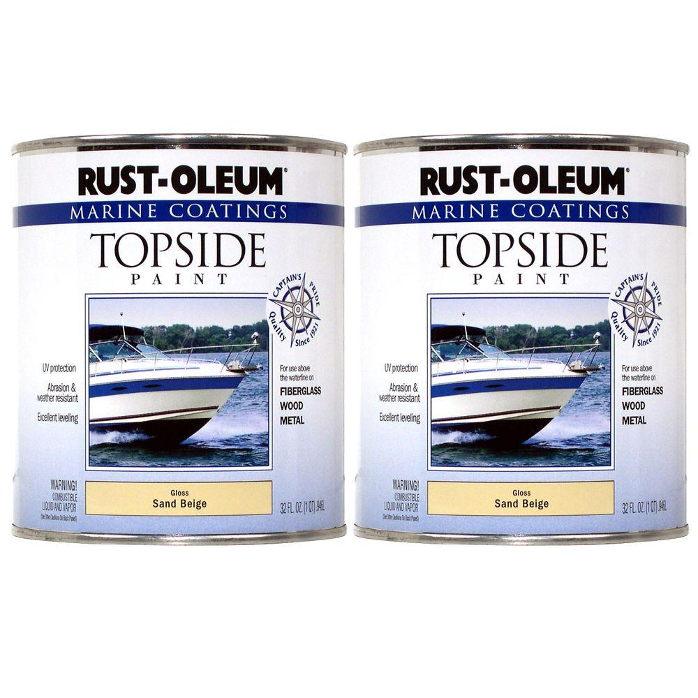 Rust-Oleum Marine Coatings 1 qt. Gloss Sand Beige Topside Paint (2-Pack)-DISCONTINUED