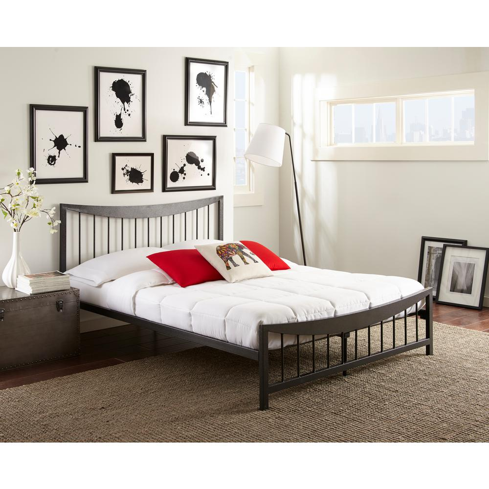 shannon textured black queen platform bed