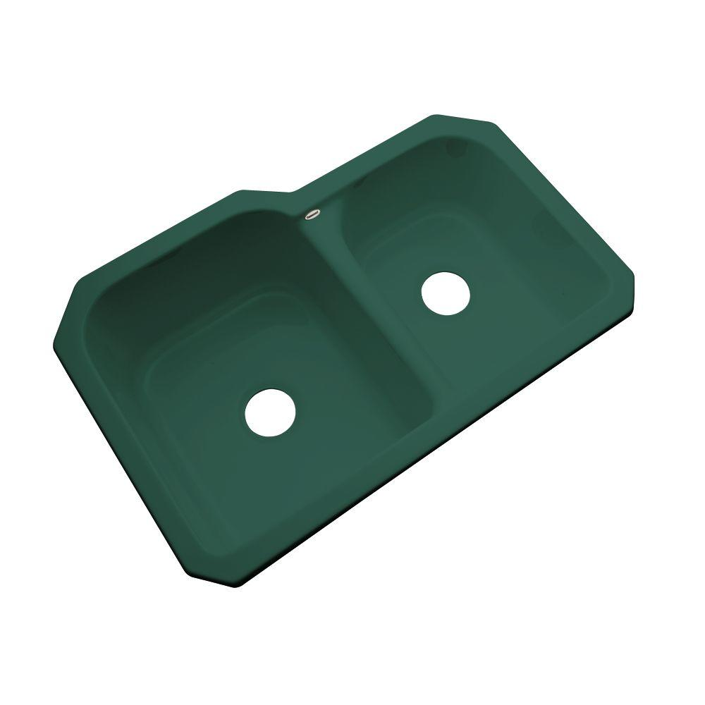 Thermocast Cambridge Undermount Acrylic 33 in. Double Bowl 60/40 Kitchen Sink in Rain Forest