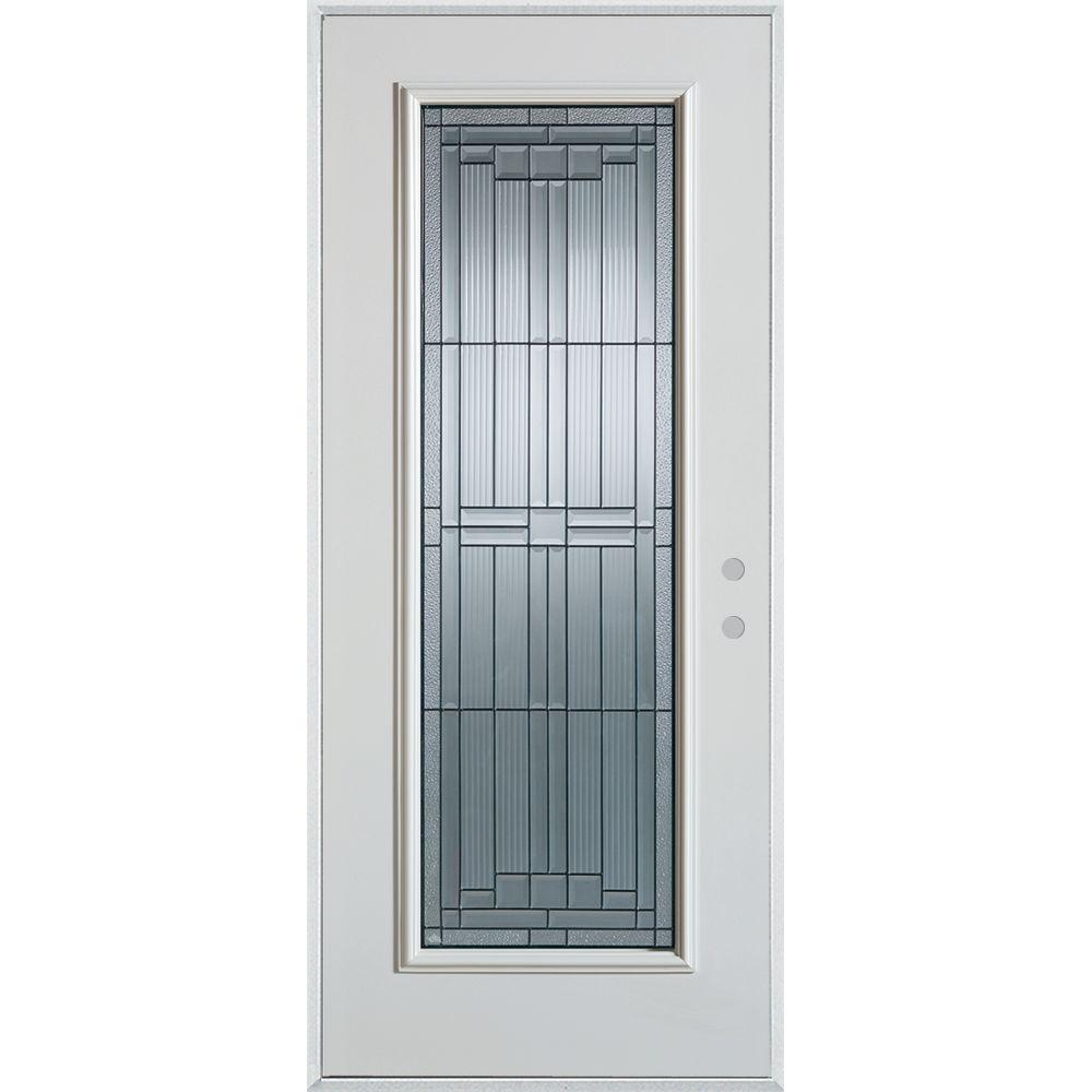 Stanley Doors 32 in. x 80 in. Architectural Full Lite Painted White Steel Prehung Front Door, Prefinished White/Patina Glass Caming