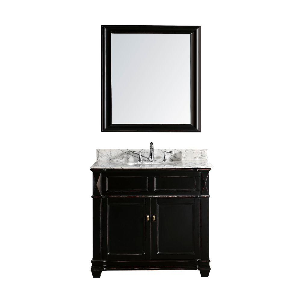 Virtu USA Noami 38 in. Single Basin Vanity in Black with Marble Vanity Top in Italian Carrera White and Mirror-DISCONTINUED
