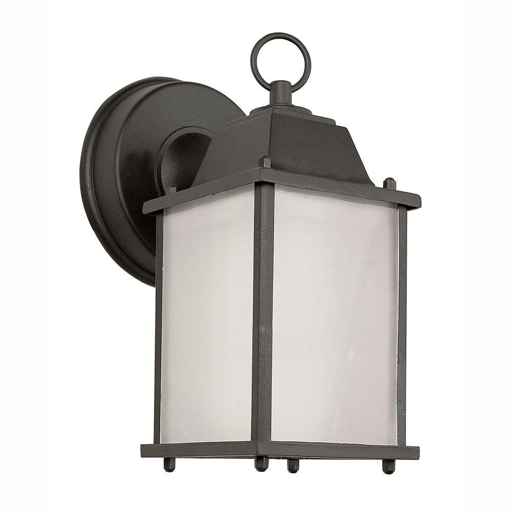 Wall Mount 1-Light Outdoor Black Coach Lantern with Frosted Glass