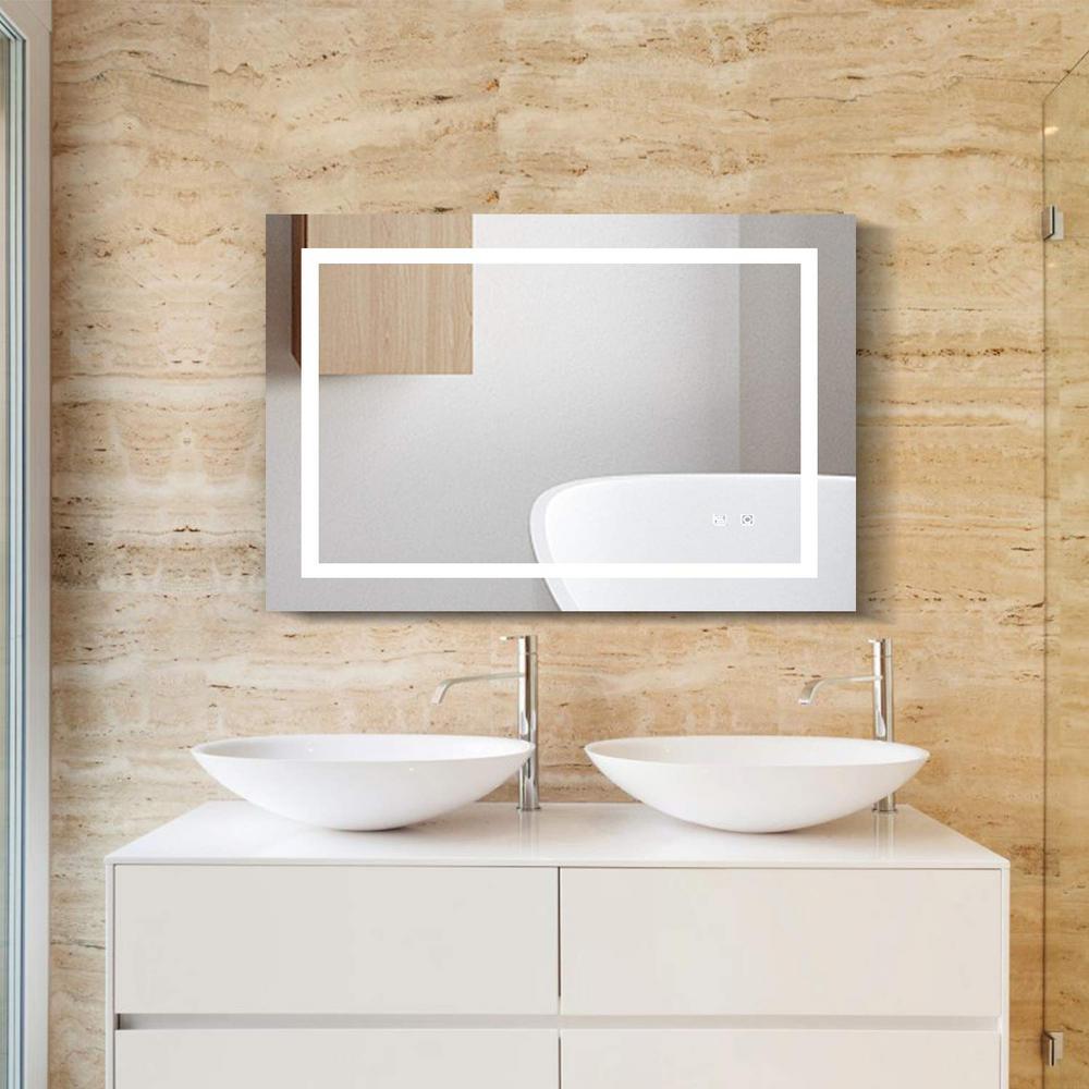 Boyel Living 24 In W X 40 In H Frameless Rectangular Led Light Bathroom Vanity Mirror In Clear Ex04 The Home Depot