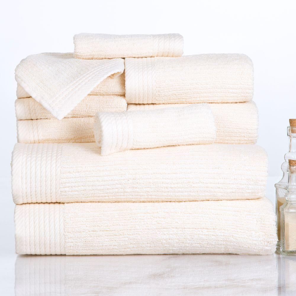 10-Piece Ribbed Egyptian Cotton Towel Set in Bone