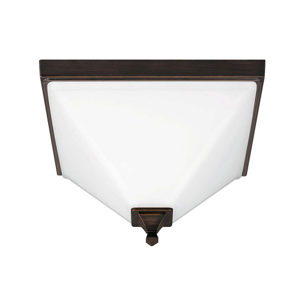 Denhelm 2-Light Burnt Sienna Ceiling Flushmount with Inside White Painted Etched