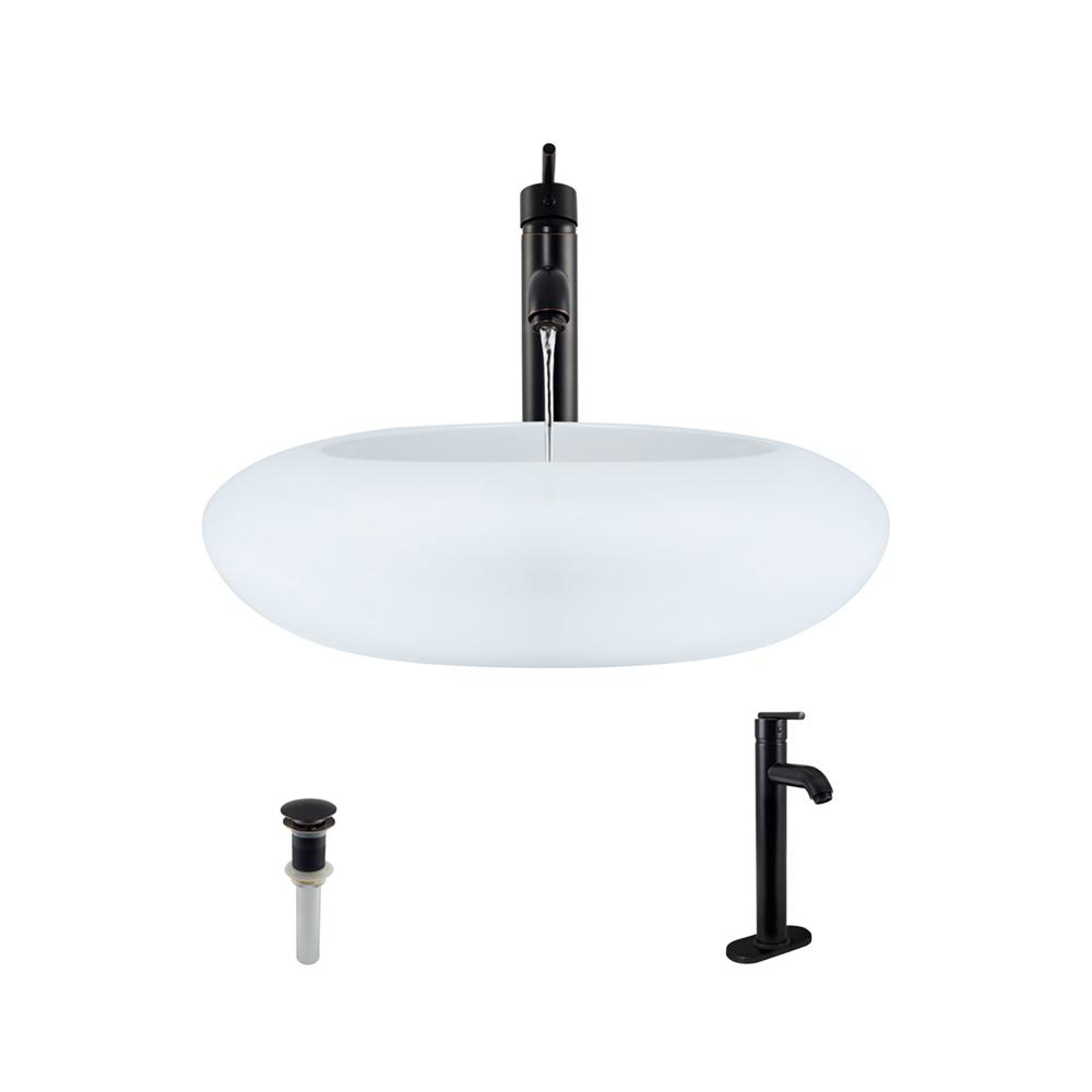 Porcelain Vessel Sink in White with 718 Faucet and Pop-Up Drain