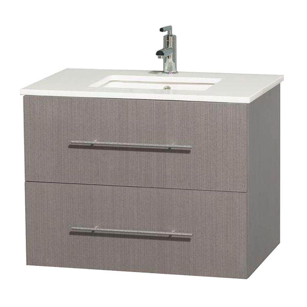 Wyndham Collection Centra 30 in. Vanity in Gray Oak with Solid-Surface