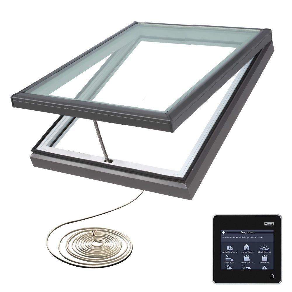 VELUX 34-1/2 in. x 34-1/2 in. Fresh Air Electric Venting Curb-Mount Skylight with Laminated Low-E3 Glass