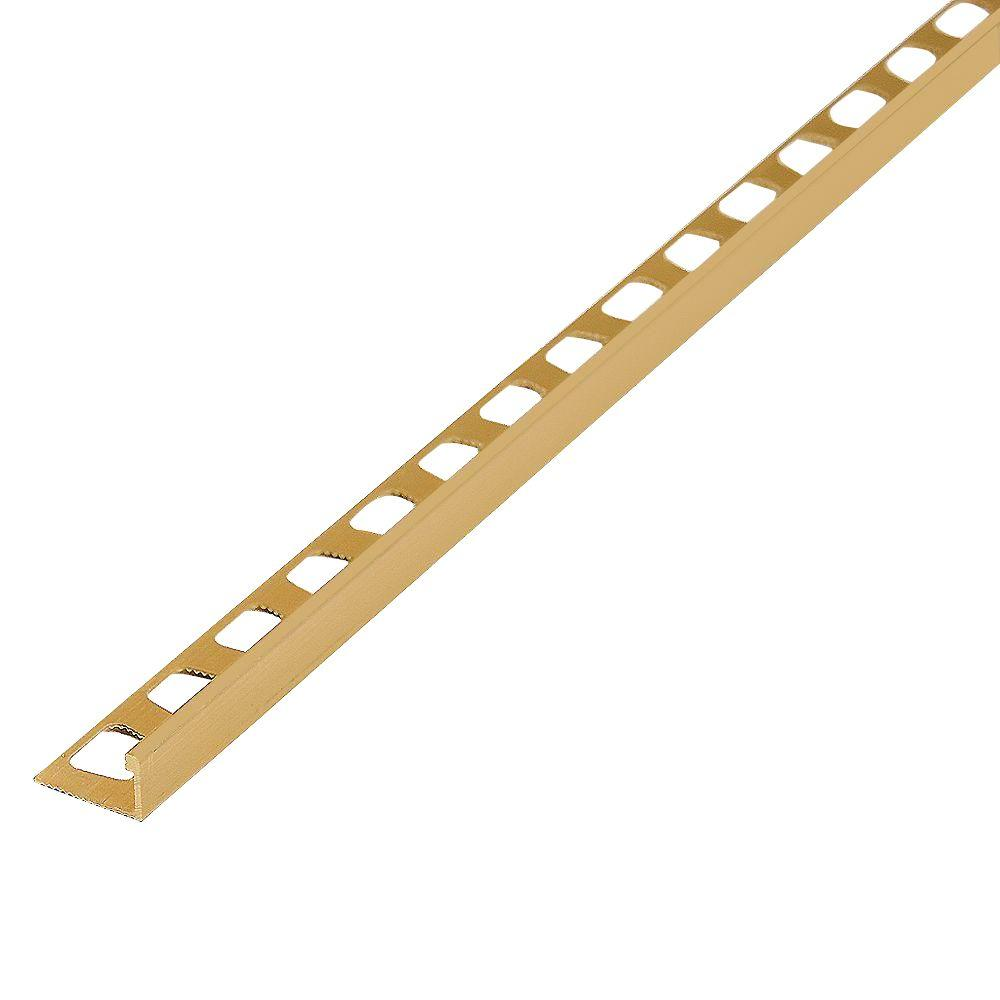Satin Brass 0.95 in. x 96 in. Aluminum L-angle Tile Edging Strip, Gold