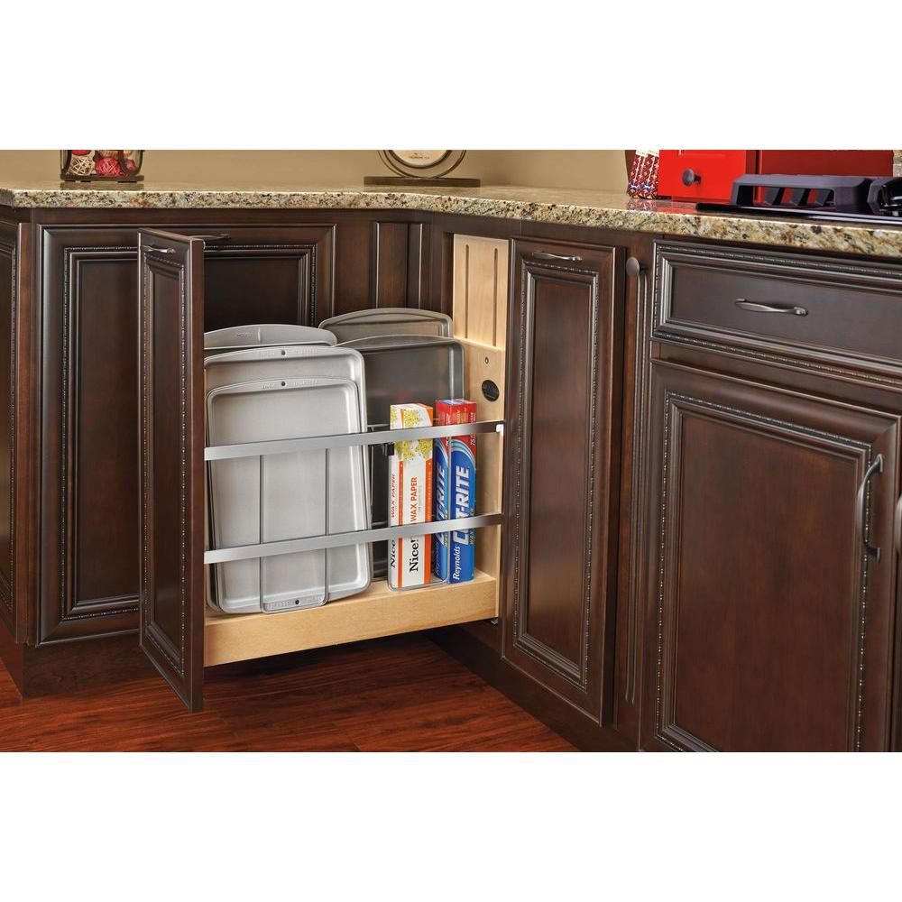 5 in. Pull-Out Wood Foil Wrap/Tray Divider Cabinet Organizer with Ball-Bearing