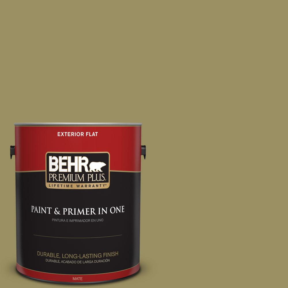 1-gal. #390F-6 Tate Olive Flat Exterior Paint