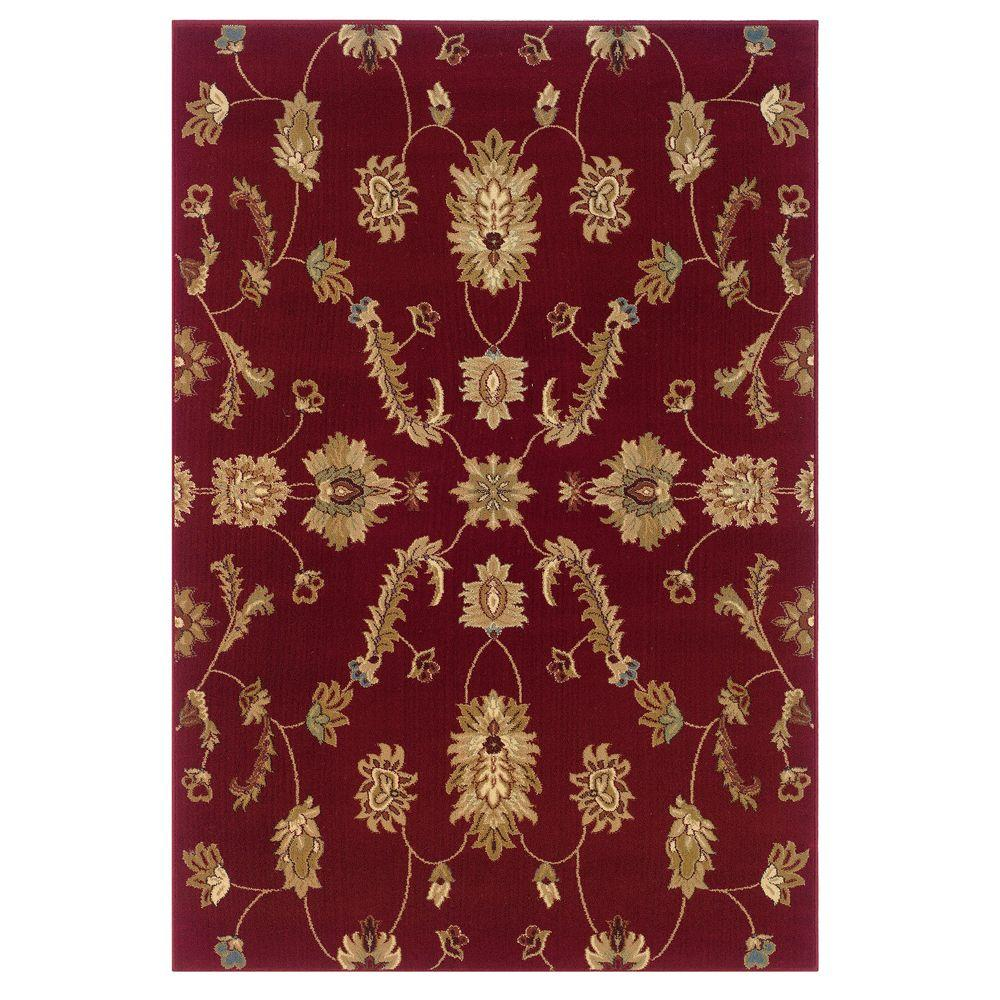 LR Resources Transitional Red 1 ft. 10 in. x 3 ft. 1 in. Plush Indoor Area Rug