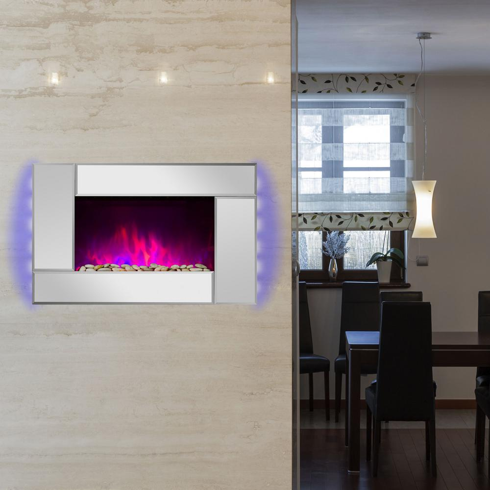 wall mount electric fireplace heater in mirror with tempered glass pebbles