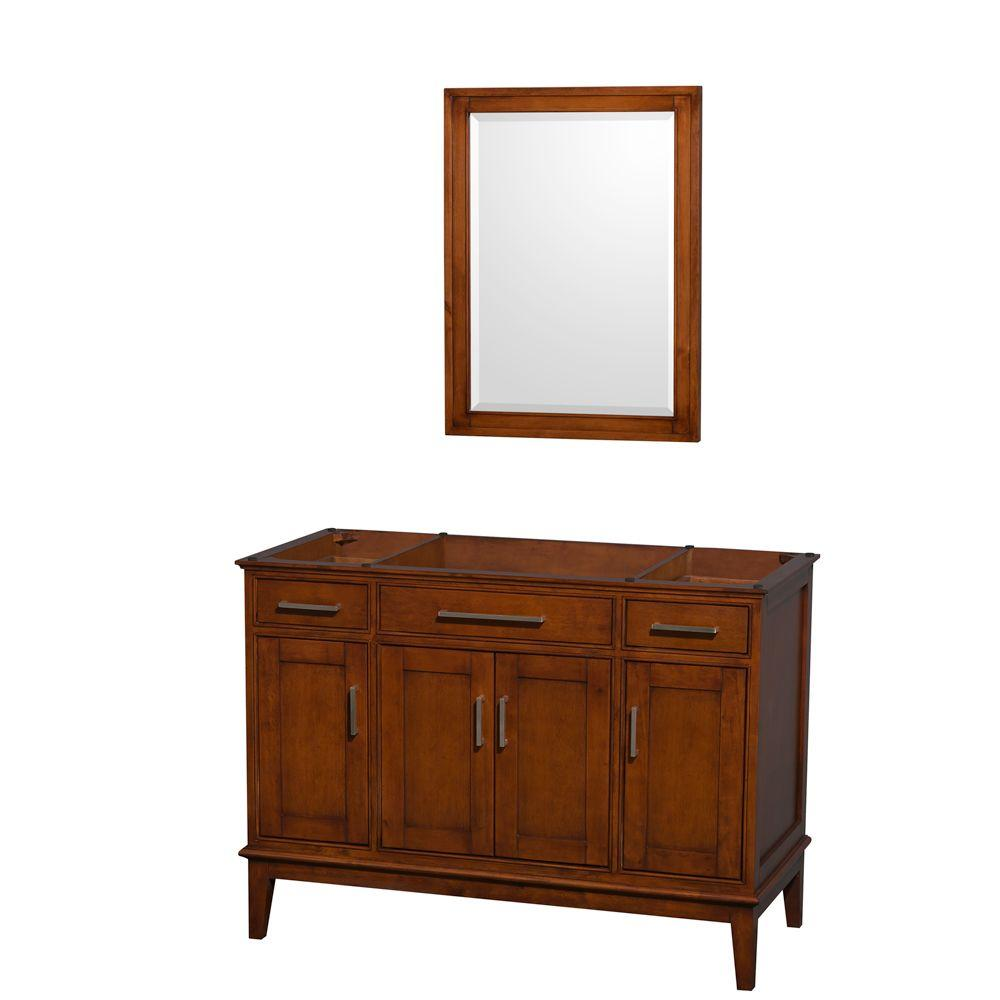 Wyndham Collection Hatton 47 in. Vanity Cabinet with Mirror in Light