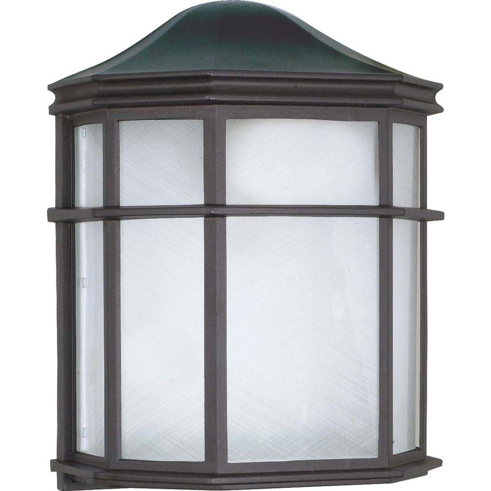 1-Light Outdoor Textured Black Cage Lantern Wall Fixture with Die Cast