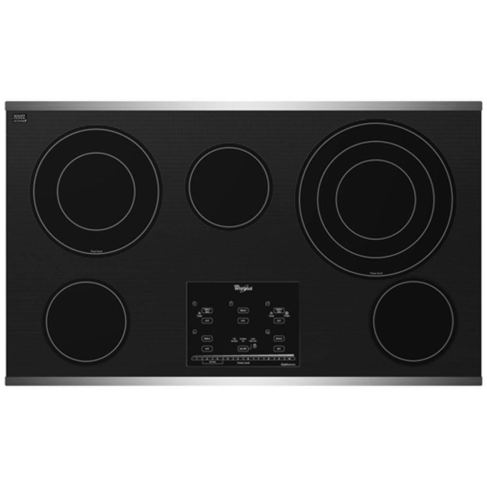 Whirlpool Gold 36 in. Radiant Electric Cooktop in Stainless Steel with 5 Elements including AccuSimmer Plus Element