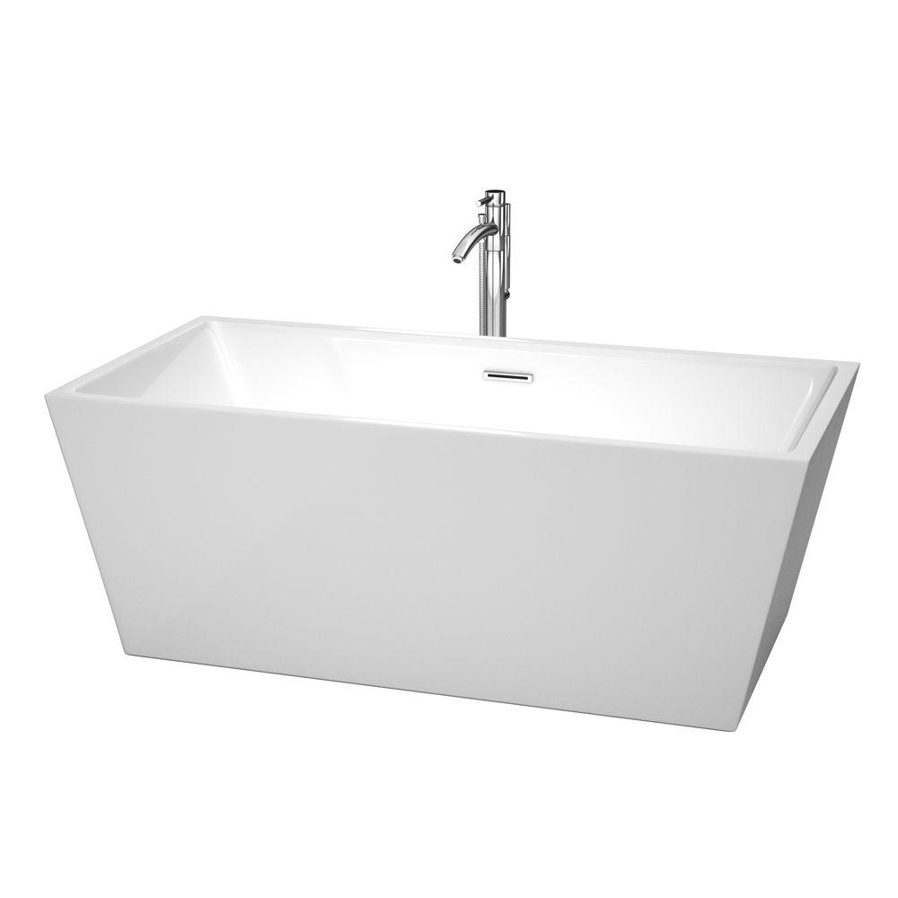 Wyndham Collection Sara 5.25 ft. Center Drain Soaking Tub in White