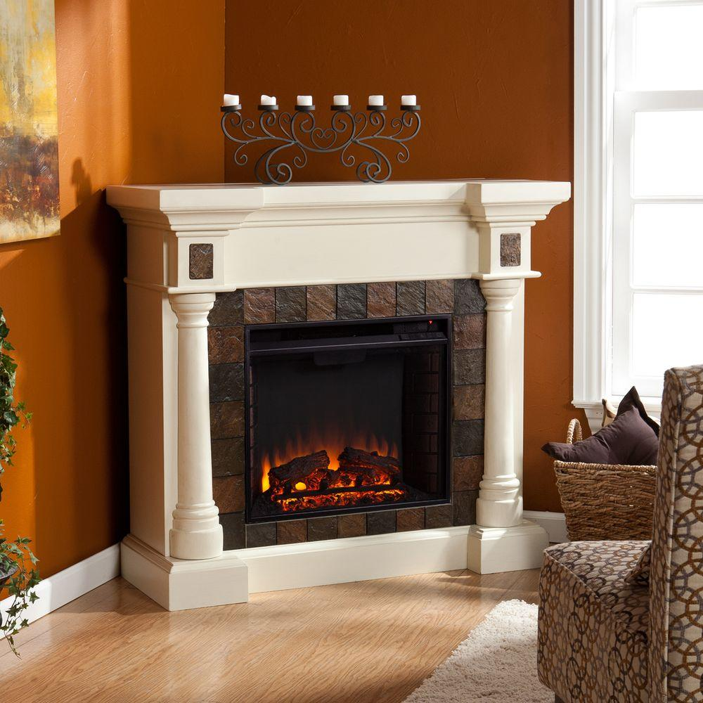 Abir 44.5 in. Convertible Electric Fireplace in Ivory with Faux Slate