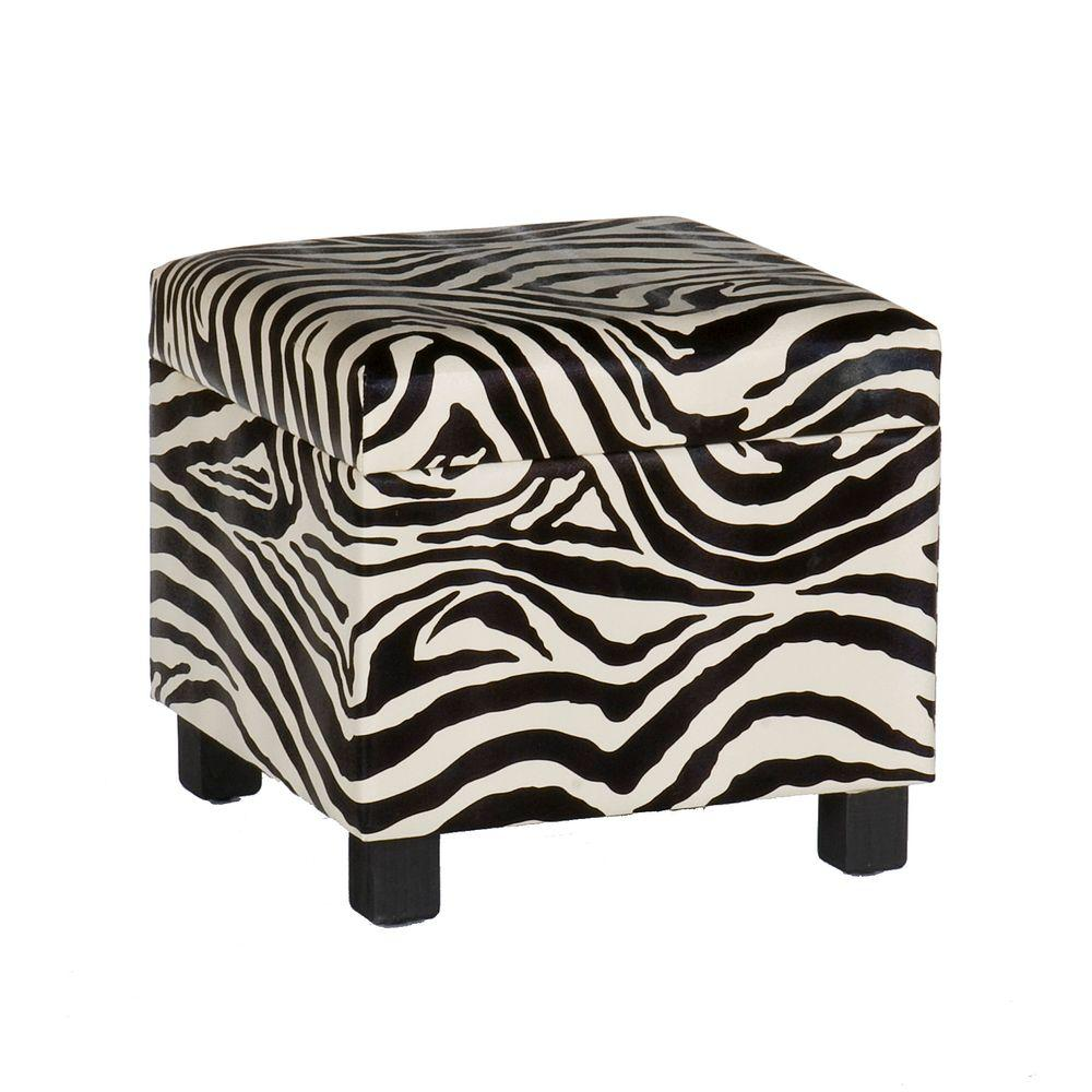 Home Decorators Collection Faux Leather Storage Ottoman in Zebra Print