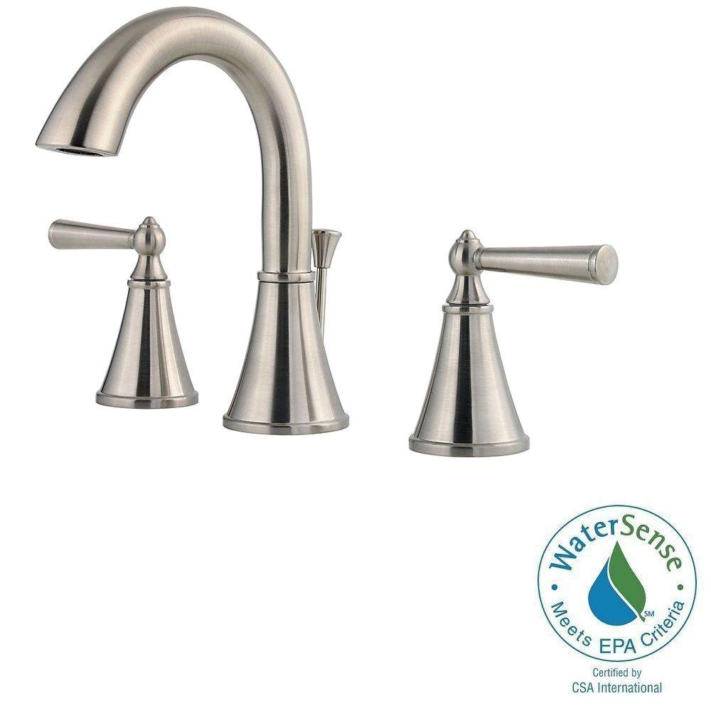 Pfister Saxton 8 in. Widespread 2-Handle High-Arc Bathroom Faucet in Brushed Nickel