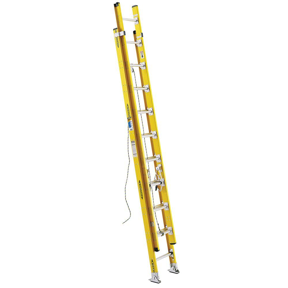 20 ft. Fiberglass D-Rung Extension Ladder with 375 lb. Load Capacity