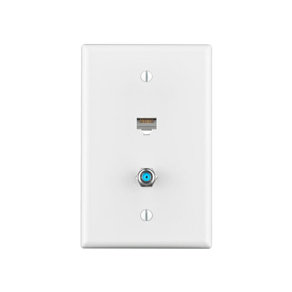 Leviton Combo Data/TV Mid-Sized Wall Plate, White-R22-40540-CMW - The Home Depot