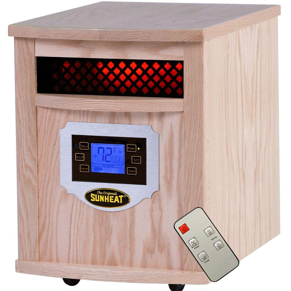 SUNHEAT 1500-Watt Infrared Electric Portable Heater with Remote Control, LCD Display and Cabinetry - Natural Oak