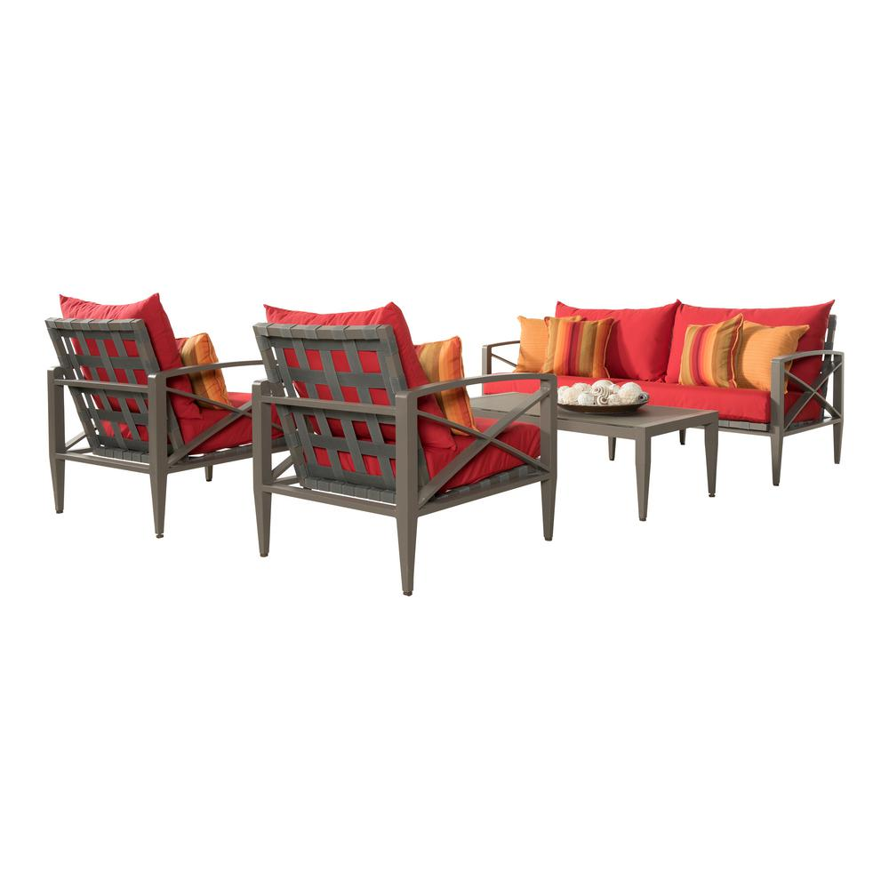 Knoxville Taupe 4-Piece Aluminum Patio Seating Set with Sunset Red Cushions