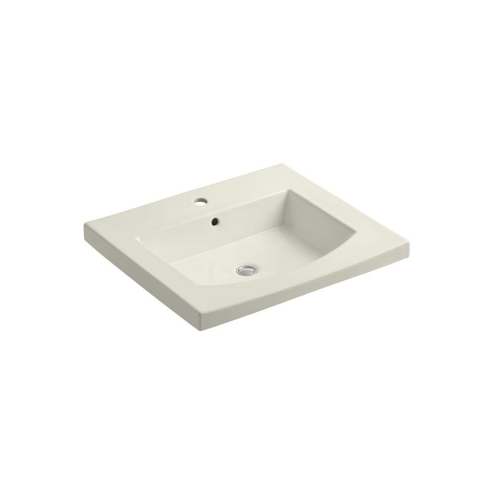 KOHLER Persuade 25.25 in. Vitreous China Vanity Top in Biscuit with Basin