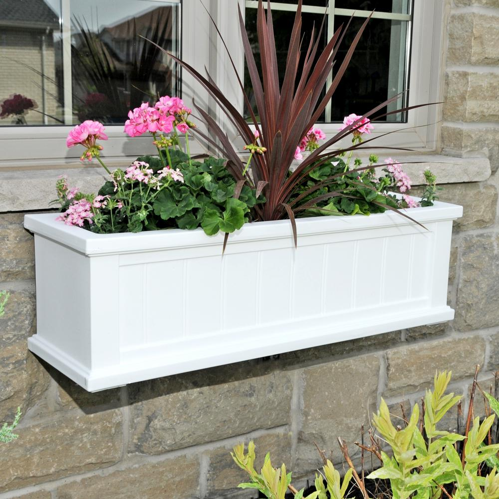 11 in. x 36 in. White Cape Cod Window Box