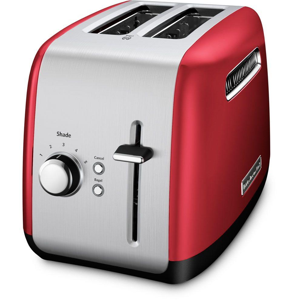 2-Slice Red and Silver Toaster