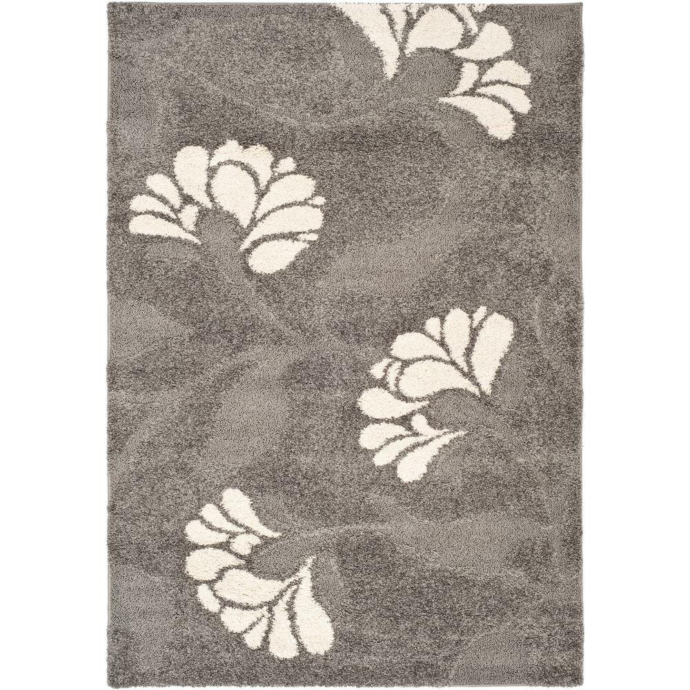 Florida Shag Gray/Beige 5 ft. 3 in. x 7 ft. 6