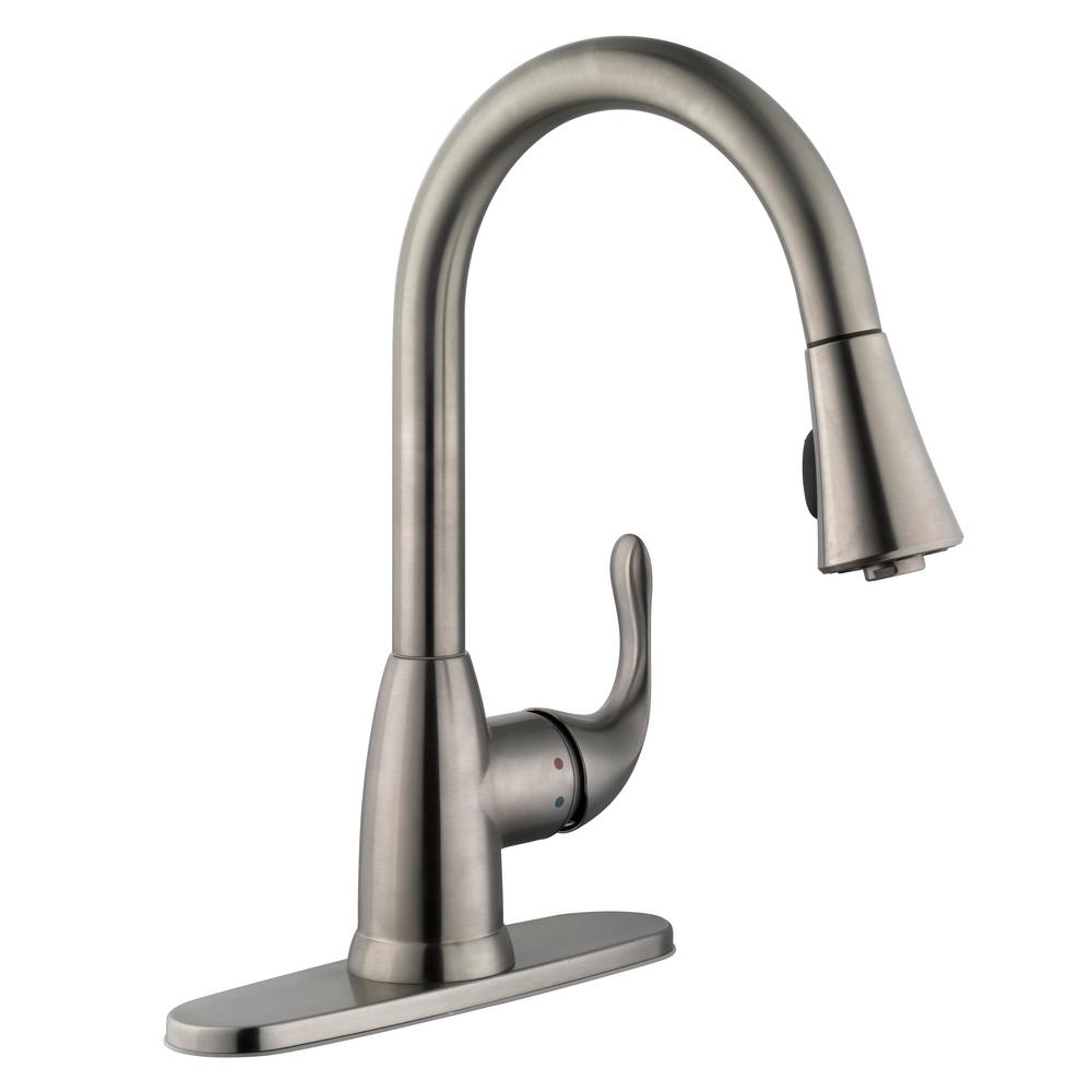 VIGO Single-Handle Pull-Down Sprayer Kitchen Faucet with Deck ...