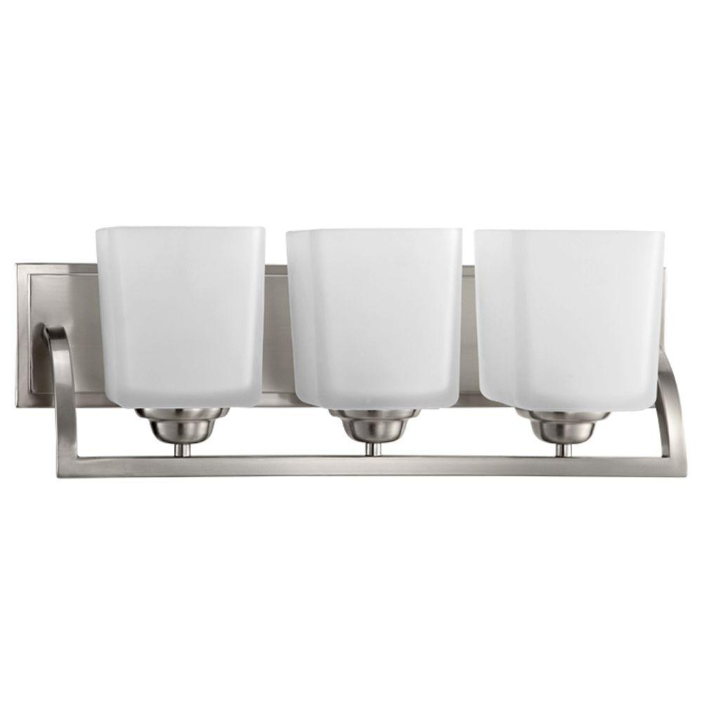 Hampton Bay Vanity Light Brushed Nickel : Hampton Bay Cankton 3-Light Brushed Nickel Bath Vanity Light-19060-001 - The Home Depot