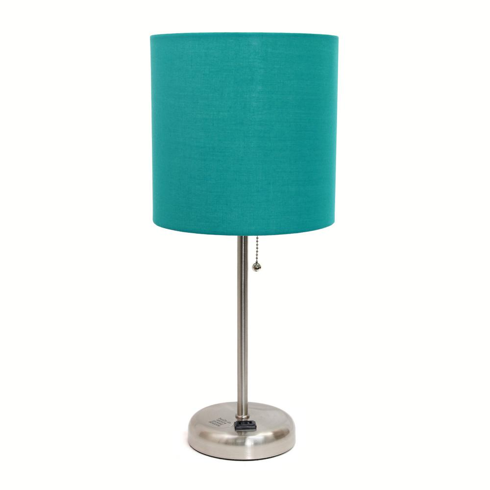19.5 in. Stick Lamp with Charging Outlet and Teal Fabric Shade
