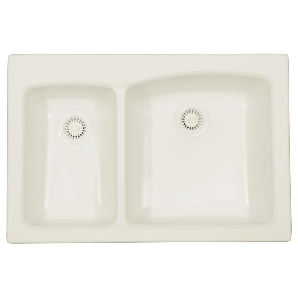 Karran Self-Rimming Acrylic 33x22x9 0-Hole 30/70 Double Bowl Kitchen Sink in Bisque/Matte Finish