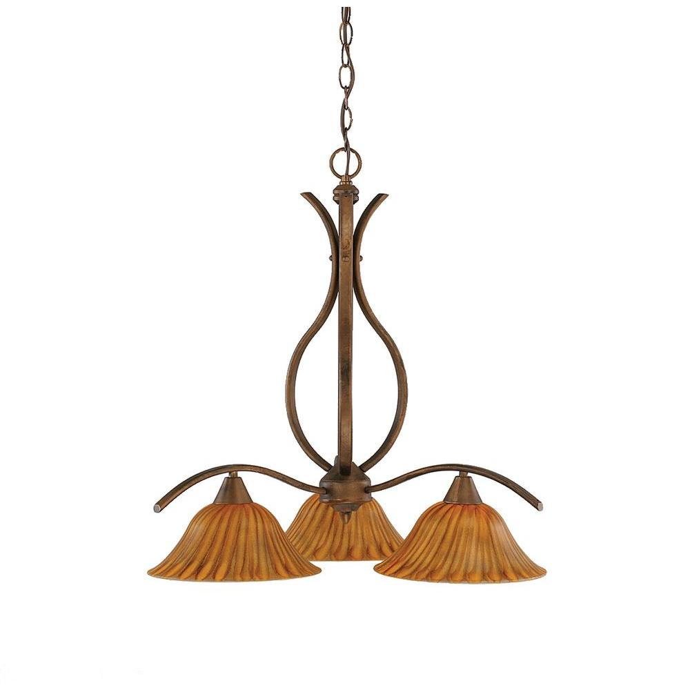 Filament Design Concord 3-Light Bronze Chandelier with Tiger Glass-CLI-TL5015044
