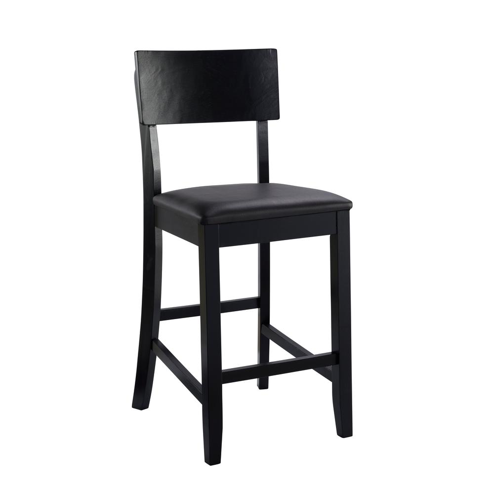 Torino 24 in. Black Cushioned Bar Stool
